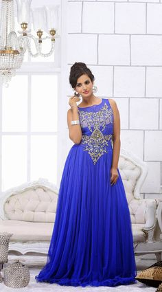 USD 228.2 Blue Net Floor Length Designer Gown   40353