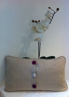 Country Scene w Linen & Buttons - Back