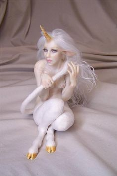 OOAK Fantasy Unicorn girl Fairy faun art doll sculpture ADSG IADR Kate Sjoberg