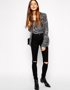 ASOS TALL Ridley High Waist Ultra Skinny Jeans With Busted Knees @asos