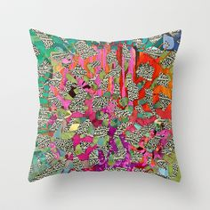 Hot Pink & Red Abstract Art Collage Throw Pillow by Sheree Joy Burlington - $20.00