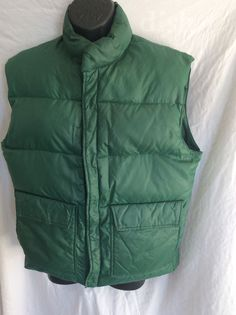 * ALTRA  Green Ski Snow Goose Down Puffer Vest Size M Hook And Loop Closure #Altra #Puffer