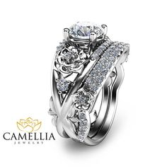 Hey, I found this really awesome Etsy listing at https://www.etsy.com/listing/240596487/14k-white-gold-engagement-ring-set-1