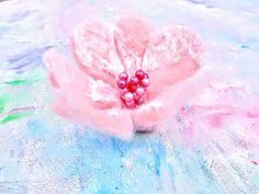 Silk and merino. Hand made. Flower Brooch, Cherry Blossom, Flora, Wax, Recycling, Silk, Handmade, Gifts, Free