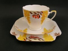 Grafton Art Deco Bone China Trio Cup Saucer Plate Hand Painted 5773 c1930 s