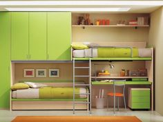 Green theme teen loft bedroom idea