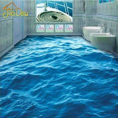 Beibehang Modern Custom floor mural HD deep blue sea waves ripple non-slip thickened self-adhesive PVC Wallpaper flooring 3d Floor Art, Floor Murals, Wall Mural, Wall Art, 3d Flooring, Linoleum Flooring, Floor Design, Tile Design, Epoxy 3d