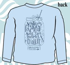 This exclusive Feathered Nest Boutique design is now available in a Long Sleeved tee for fall & winter! We think Southern girls love their Sweet Tea, Mamas & Monograms and we are sure you agree! Show everyone your love for all things Southern with our exclusive Southern Girls & Mason Jars tee that features your custom embroidered monogram on the front left chest pocket of this Light Blue colored shirt.