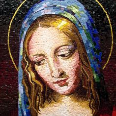 Mosaic, Madonna, reproduction of Bernardino Luini's Virgin.  by Lynne Chinn 2001?
