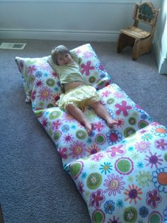 Fleece camping/sleep over bed. 3 yards of fleece + five pillows = comfy fun :)