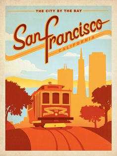 The City by the Bay - San Francisco, California trolley travel poster by Anderson Design Group Pub Vintage, Photo Vintage, Style Vintage, Design Vintage, Vintage Signs, Vintage Kitchen, Old Posters, Retro Posters, Movie Posters