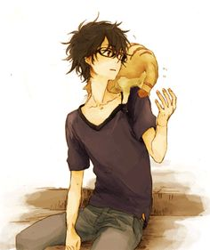 anime | bespectacled young man w/ chubby ginger cat