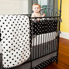 Black and White Dots and Stripes Crib Comforter | Carousel Designs