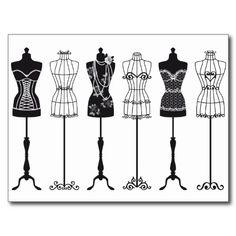 Vintage fashion mannequins silhouettes post cards