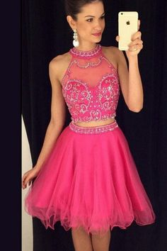 Two Piece High Neck Homecoming Dress,Short Beaded Homecoming