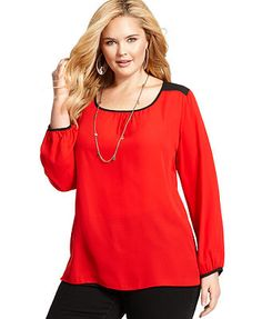 ING Plus Size Long-Sleeve Colorblocked Top