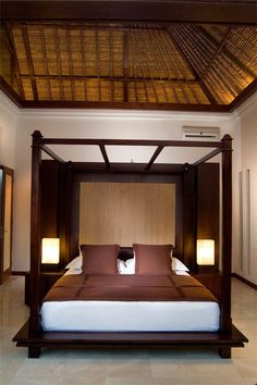 Like the ceiling and 4 poster bed, but not the dark wood 4 Poster Beds, Dark Wood, Outdoor Furniture, Outdoor Decor, New Homes, Design Inspiration, Seychelles, House Styles, Ceilings