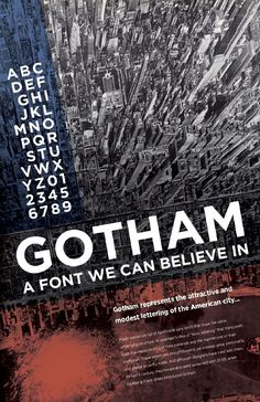 Tobias Frere-Jones created the Gotham font. I like how the blue and orange is transparent. I also like how a city is used in the background. Graphic Design Posters, Graphic Design Typography, Graphic Design Illustration, Typo Poster, Poster Fonts, Lettering, Typography Fonts, Gotham Font, Font Face