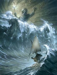 En vente - Le Courroux de Poseidon ( oeuvre resrevée ) par Anthony Jean - Illustration