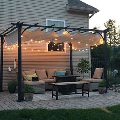 The pergola kits are the easiest and quickest way to build a garden pergola. There are lots of do it yourself pergola kits available to you so that anyone could easily put them together to construct a new structure at their backyard. Wooden Patios, Wooden Pergola, Outdoor Pergola, Backyard Pergola, Pergola Plans, Backyard Landscaping, Outdoor Decor, Pergola Lighting, Pergola With Lights
