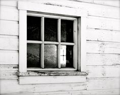 Landscape Photography - The Frozen Cross - Nature, Travel, Winter, Snow, Farm, Barn, Black and White, Monochromatic, Fine Art Photography on Etsy, $30.00