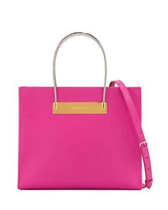 Small Cable Shopper Bag with Strap, Hot Pink by Balenciaga at Neiman Marcus.