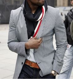 striped blazer and Louis vuitton scarf