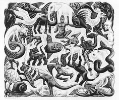 Mosaic, 1957, by MC Escher (Dutch, 1898–1972). Lithograph✖️Art  Ideas  Home  Beauty ✖️Fosterginger @ Pinterest✖️