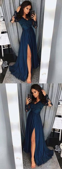 A-line Long Sleeves Floor Length Prom Dress ,Formal Dresses,Wedding Party Dress LP098