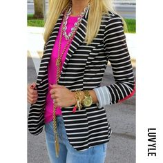 Crew Factory , Blazer: Sugar Love Boutique c/o also love this one, Jeans: Similar. Striped Blazer Outfit, Striped Jacket, Blazer Outfits, Blazer Jeans, Work Fashion, Fashion Outfits, Womens Fashion, Fashion Tips, Casual Work Outfits