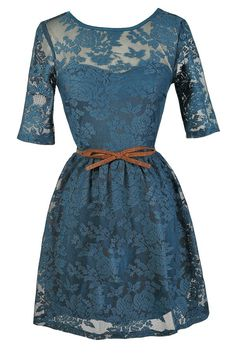 Teal Swoon Bow Belt Teal Lace Dress only $38 .. Cute for bridesmaid dresses for a small backyard wedding.