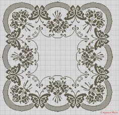 Szydełkomania: Kwadratowe obrusy- bottom only for curtain bottom? Filet Crochet Charts, Crochet Cross, Crochet Home, Thread Crochet, Butterfly Cross Stitch, Cross Stitch Flowers, Cross Stitch Designs, Cross Stitch Patterns, Crochet Designs