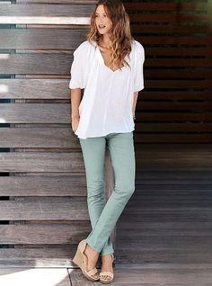 VS Pencil Jean & white top