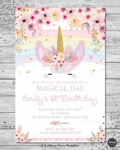 1st Birthday Invitation Rainbow Unicorn Party Ideas Pinterest