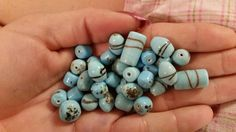 Light Blue Decorative Stripe Beads by TheChristianBoutique on Etsy