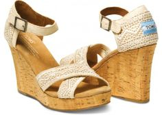 Toms Natural Crochet Strappy Wedges for Women Toms Crochet, Crochet Shoes, Street Chic, Cheap Toms, Strappy Wedges, Women's Wedges, Summer Wedges, Toms Outlet, Crochet Woman