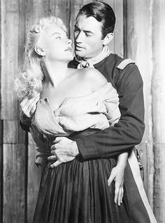 #love #cinema #black  Gregory Peck and Barbara Peyton in Only the Valiant, 1951.
