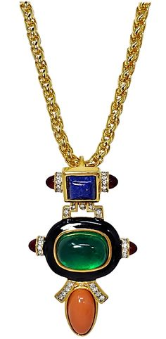 Kenneth Jay Lane, Gems, Indian, Pendant Necklace, Jewellery, Party, Earrings, Design, Fashion