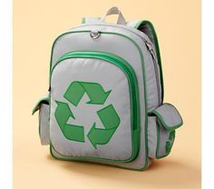 Kids' Bags and Backpacks: Kids Eco Friendly Recycle Symbol Backpack - Recycle Eco Backpack and other furniture & decor products. Backpacks For Sale, Kids Backpacks, Pop Bottles, Water Bottles, Recycle Symbol, Kids Storage, Baby Store, Kids Bags, Crate And Barrel