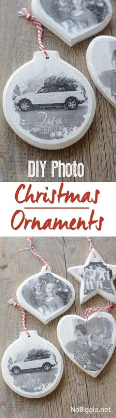 New diy wood ornaments photo transfer ideas Photo Christmas Ornaments, Christmas Signs Wood, Wood Ornaments, Christmas Photos, Diy Photo Ornaments, Christmas Lights, Homemade Christmas, Diy Christmas Gifts, Christmas Projects