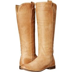 Frye Paige Tall Riding (Saddle Burnished Antique Leather) Women's... ($195) ❤ liked on Polyvore featuring shoes, boots, khaki, knee-high boots, riding boots, frye knee high boots, tall knee high boots, slip on boots and slipon boots