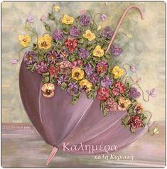 Watercolor Flowers Tutorial, Acrylic Painting Flowers, Watercolor Paintings, Easy Canvas Art, Mini Canvas Art, Texture Painting, Fabric Painting, Umbrella Art, Ribbon Art