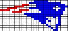 ChemKnits: New England Patriots Logo Knitting Charts - small size.  17 stitches high by 28 stitches wide.