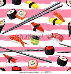 Seamless pattern with different types of sushi. Japanese food sushi roll vector background. Perfect for wallpapers, pattern fills, web page backgrounds, surface textures, textile