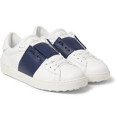 ValentinoStriped Leather Sneakers