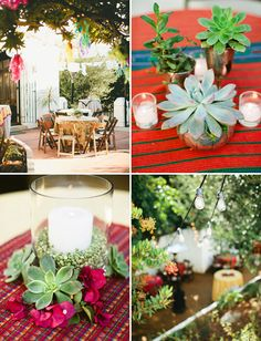 Succulent Centrepieces - Frida Kahlo Inspired Wedding :)