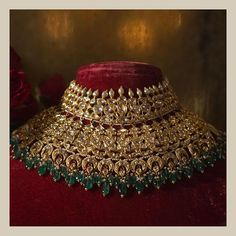 The classic Sabyasachi bridal choker. Set in 22k gold, uncut diamonds, Japanese cultured pearls and Zambian emeralds. For all jewellery related queries, kindly contact sabyasachijewelry@sabyasachi.com #Sabyasachi #SabyasachiJewelry#TheWorldOfSabyasachi
