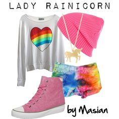 """""""Inspired Look: Lady Rainicorn from Adventure Time!"""" by callmemasian on Polyvore! follow her fashion blog at http://styledbymasian.tumblr.com!"""