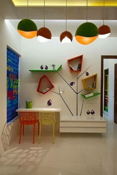 Amazing Lighting and Colorful Study Table Furniture Sets in Modern