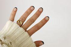 Navy & Beige French Manicure